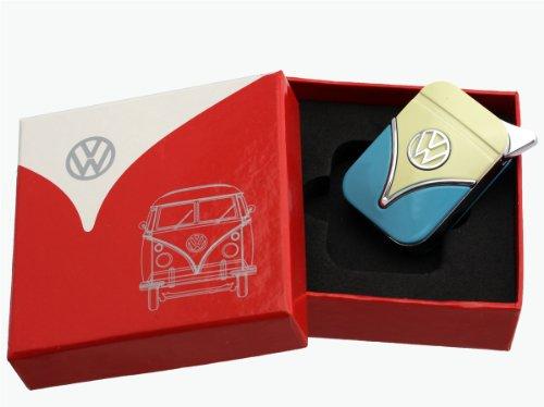 Original Volkswagen Feuerzeug im Frontschild Design - in verschiedenen Farben - Geschenkset (VW-Bulli-blau-gelb)