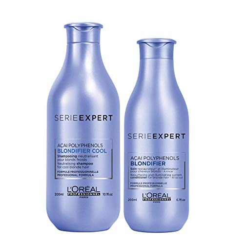 L'Oréal Professionnel Serie Expert Pflegeset für blondes Haar | Blondifier Cool Shampoo, 300 ml & Blondifier Conditioner, 200 ml für Anti-Gelbstich und Farbschutz für blondiertes und naturblondes Haar