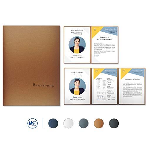 """5 Stück 4-teilige Bewerbungsmappen Esclusiva® Exzellent-plus in Kupfer mit 2 Klemmschienen // in 1A-Premium-Qualität mit hochwertiger Flach-Prägung """"BEWERBUNG"""" // Produkt-Design von"""