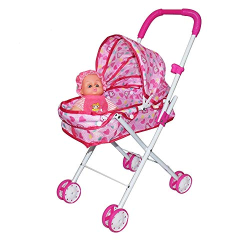 KIYANA Baby Doll Stroller Foldable Baby Pram Trolley with Dolls for Girls and Boys Toys(Multicolor)