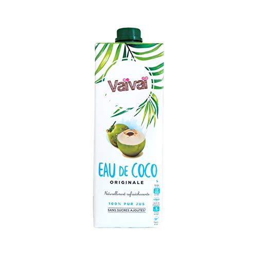 Vaïvaï - Eau de Coco Originale - 100% Pur Jus - Gourmande et Rafraîchissante - Sans Sucres Ajoutés - 1 Brique Tetra Pak d'1L