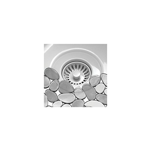 InterDesign Pebblz Protector de Fregadero, Alfombrilla escurreplatos de plástico, salvaplatos Recortable para Pila, Gris Grafito