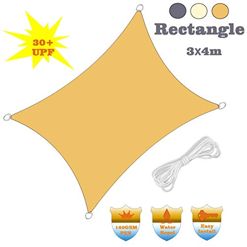 Rectangle Sun Shade Sail, 3 X 4 M Waterproof Canopy Awning, 95% Sunscreen Effect, for Outdoor Patio Garden Lawn Pergola Decking,B