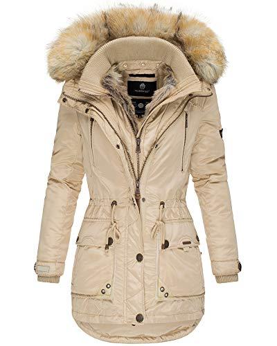 Marikoo Damen Winter Jacke Parka Mantel Kunst-Pelz Kragen Kapuze Warm NEU GRK103 (XXL, Beige)