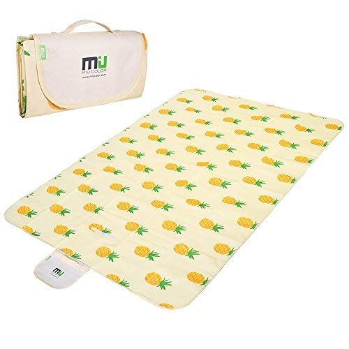 MIU COLOR Large Waterproof Outdoor Picnic Blanket, Sandproof and Waterproof Picnic Blanket Tote for Camping Hiking Grass Travelling (80'x 60' A Pineapple)