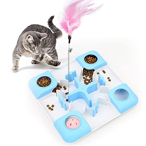 Iokheira Juguete interactivos para Gato de Interior Rompecabezas de alimentador con Pluma,Juguetes de premios para Gato, Juguetes de alimento, Juguete y Actividades de Alimentos con Pelota de Campana