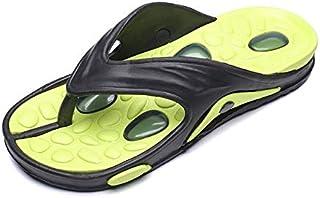 Mens Flip Flops Breathable Lightweight Wear-resistant Non-slip Thick Sole Massage Shoes (Color : Yellow, Shoe Size : 43)