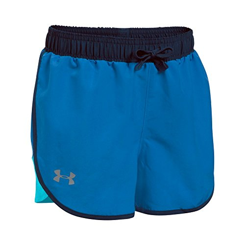 Under Armour Girls' Fast Lane Shorts,Mediterranean (437)/Reflective, Youth Large