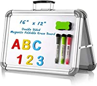 """磁気ドライイレースホワイトボード16""""x 12""""ポータブル両面ホワイトボード折りたたみ式、3つのドライイレースペン、1つのキッズ学生用ドライイレイザー"""