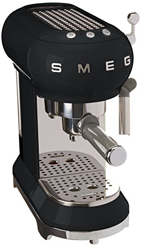 Smeg Máquina de café expreso ECF01BLEU, 1350 W, 1 Liter, Acero Inoxidable, Negro