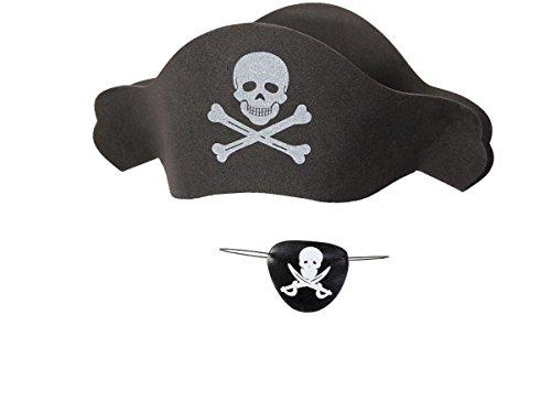 Kit de déguisement pirate (KV-66), ensemble de deux accessoires: Chapeau + Bandeau de pirate Parfait pour les fêtes, les costumes d'Halloween