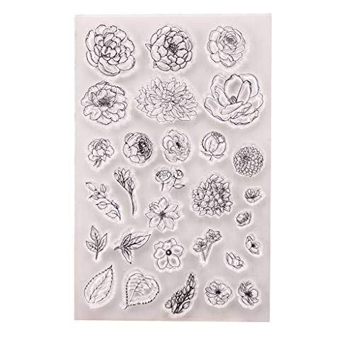 Weishazi Transparente Silikon-Stempel mit Blumen-Motiv für Scrapbooking, Prägung, Fotoalbum, Dekoration, Papier, Karten, Handarbeit, Basteln, Geschenk