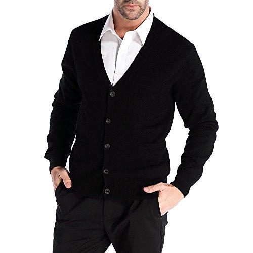 Kallspin Maglione Cardigan da Uomo con Scollo a V, con Bottoni e Tasche in Lana Cachemire (Nero, XXL)