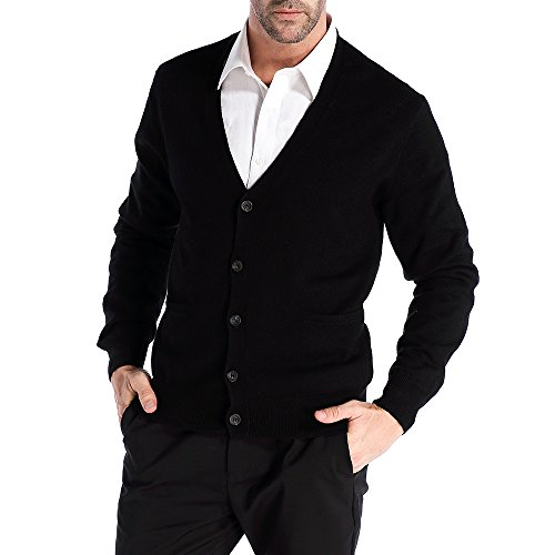 Kallspin Men's Relax Fit V-Neck Cardigan Cashmere Wool Blend Button Down with Pockets Black, L'