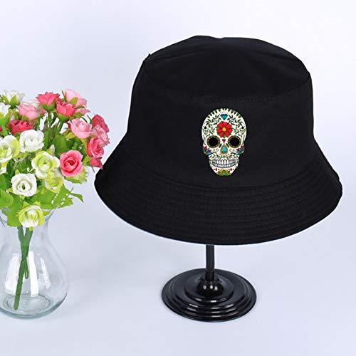 JIACHIHH Sombrero De Pescador Algodón,Impresión De Imágenes Cráneo De Pintura Negro Hat Cuchara Verano Unisex Visor Hat Pescador Pesca Hat