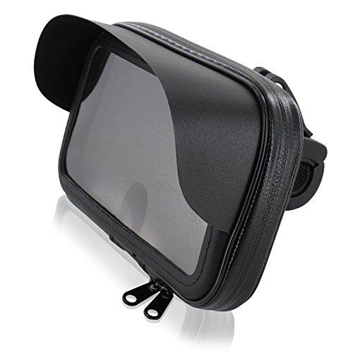 FM24 Motorrad Fahrrad Handyhalterung Halterung Tasche Hülle mit Sonnendach für Smartphone Handy Navi GPS bis max. 150 x 80 mm