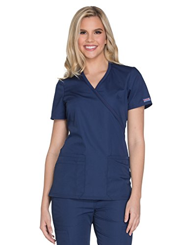 CHEROKEE womens Workwear Core Stretch Mock Wrap Shirt Medical Scrubs, Navy, Small US