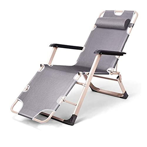 Thomm Reclining Patio Chairs Adjustable Lounge Chairs With Wide Armrest, Headrest, For Camping Pool Beach Outdoor, Supports 330 Lbs, Gray (Color : Gray)