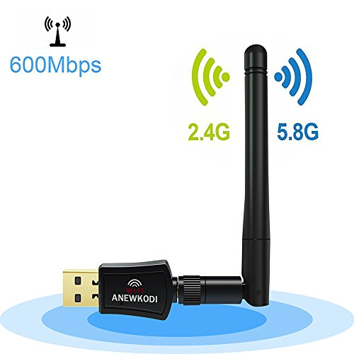 ANEWKODI 600Mbps Dual Band (2.4G/150Mbps+5G/433Mbps) Wireless USB WiFi Adapter,802.11N/G/B Antenna Network LAN Card for Windows XP/Vista/7/8/8.1/10 (32/64bits) MAC OS
