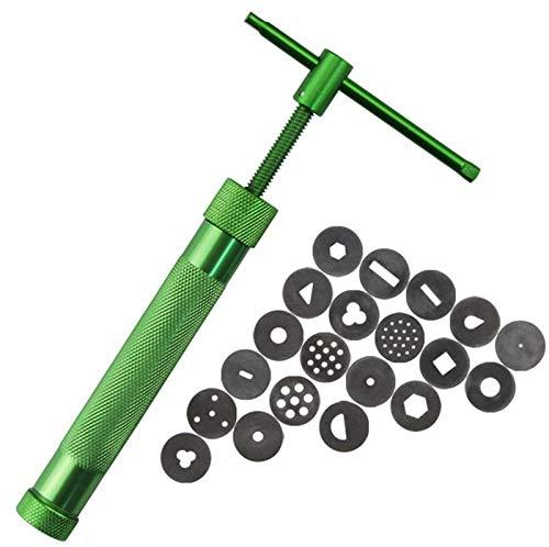 Kalolary Extrusora de arcilla acero inoxidable verde atestado de máquina de barro polímero Pistola de papel y pastel Fondant Sculpture que adorna la herramienta que fija con 20 discos intercambiables