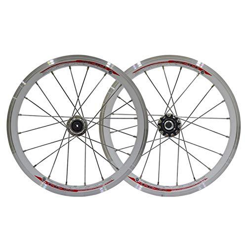 ZNND MTB Rueda De Bicicleta De Montaña 16 Pulgadas Aleación Aluminio del Sistema Bici Plegable Lanzamiento Rápido Llantas 11 20H Velocidad (Color : C)