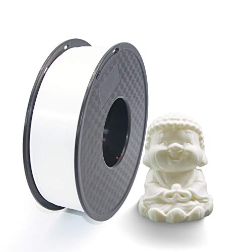 Filament PLA 3D Printer Filament 1.75 mm Tolerance Accuracy +/- 0.02 mm PLA 3D Printer Filament 1 kg Spool (2.2 lbs) for 1.75 mm FDM 3D Printer (White)