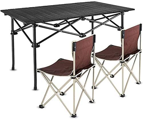VIVOCC Hochleistungs-Klapptisch tragbarer Camping 4-Personen-Tisch mit Stühlen, Präfekt für den Außenbereich, Picknick, BBQ, Kochen, Festival, Strand, Hausgebrauch t (Farbe : Brown Chairs)