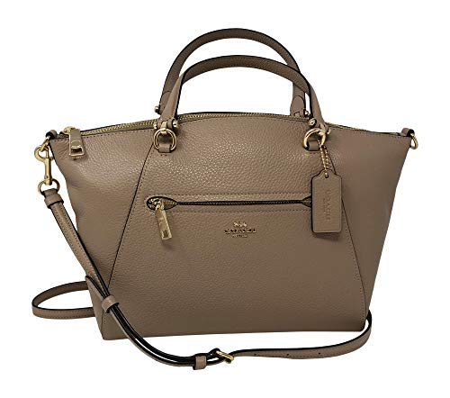 """Refined pebble leather with gold tone hardware Zip top closure; fabric lining with one zip pocket Outside zip pocket Detachable, adjustable strap with 21"""" drop for shoulder or crossbody wear; handles with 5"""" drop Approximate dimensions: 10 1/2"""" (L) x..."""
