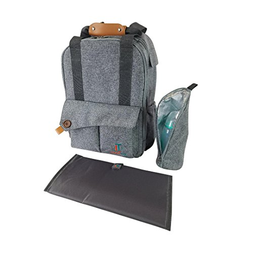 Laguna Tide Travel Diaper Bag Backpack w/Padded Infant Changing Mat   12-Pocket Trendy Designer Tote w/Adjustable Shoulder Straps, Removable Stroller Straps   Waterproof Carryall (Gray)