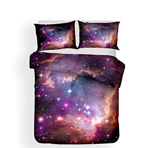 Andrui Galaxy Juego de Funda de edredón y Funda de Almohada 3D Star Sky Universe Moon Planet Space Unicorn Luxury Trendy Juego de Cama, Microfibra, Yh16, Single 135x200cm
