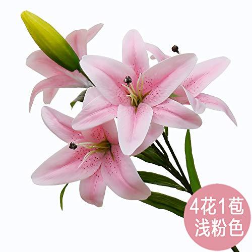 yueyue947 Gefälschte Blumen Display Parfüm Lilie Blumenstrauß/Wohnzimmer Dekoration Blume Blumenschmuck/PU trockene Blume Lilie einzelne 4 Blüte Hellrosa