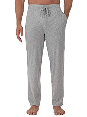 Fruit of the Loom Men's Extended Sizes Jersey Knit Sleep Pant, Light Grey Heather, Large