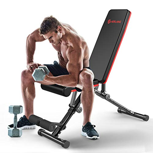 AERLANG Weight Bench, Adjustable Strength Training Bench for Full Body Workout, Fast Folding/Incline/Decline Utility Workout Bench for Home Gym withaProfessional Training Manual(Black)