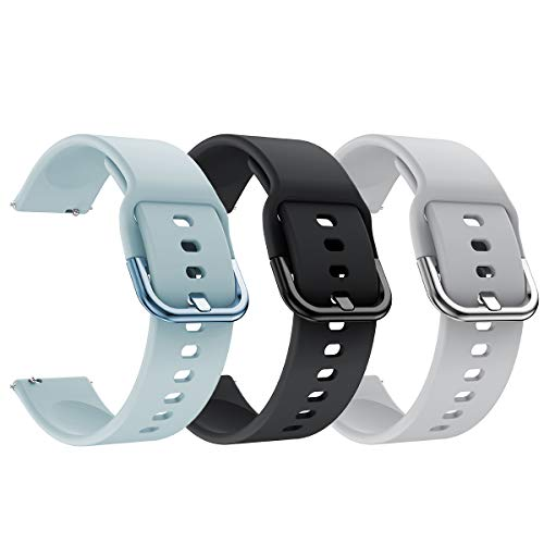 YSSNH 20mm 22mm Watch Bands Quick Release Compatible with Samsung Galaxy Watch3 41mm 45mm Bands Silicone Replacement for Galaxy Watch 42mm/46mm Active 2 40mm/44mm Gear S2/S3 Classic(20mm/22mm)