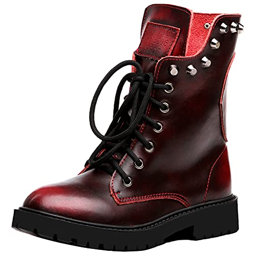Shenn Women's Round Toe Mid Calf Punk Military Combat Boots(Wine Red,7 M US)