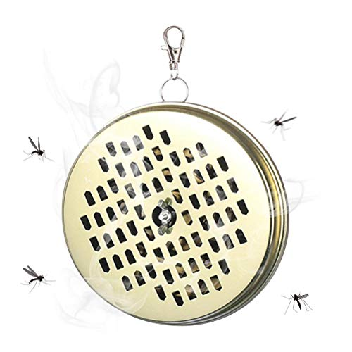CeFoney Portable Mosquito Coil Holder, Mosquito Coil Holder, Mosquito Coil Incense Burner Hanging Mosquito Coil Holder for Home and Outdoor-Golden