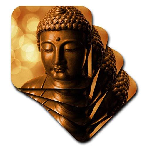 3D Rose Golden Asia Buddha Symbol Soft Coasters, Multicolor