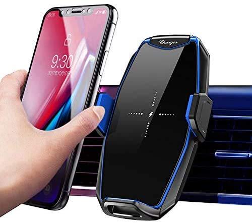 Cargador de coche inalámbrico de 10 W Qi de carga rápida, sujeción automática, soporte de teléfono para iPhone SE/12/12 Pro Max/11/11 Pro/11 Pro Max/XR/XS Max/X, Samsung Galaxy S20/S10/S9/Note 20/10
