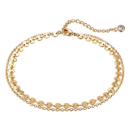DREMMY STUDIOS Dainty Gold Coin Chain Anklet,Double Layer 14k Gold Plated Disc Chain Ankle s for Women