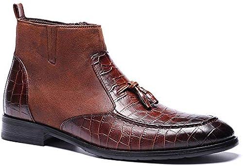 ZHRUI Slip on Chelsea botas para Hombre botas de Fahion con Diseño de cocodrilo y Suela Suave (Color   marrón, tamaño   EU 43)
