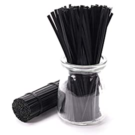 Sago Brothers 500pcs 5 Inches Plastic Black Twist Ties 1 Bulk of 500pcs twist ties, a perfect solution to get everything organized, like bread ties, reclosing food bags and tie up cords. Many uses for any occasion, like using at home, office, travel, gardening, holiday presents or even on the go! Nice plastic coating and strong wire inside, strong but flexible, easy to bent and do not fall apart with use.