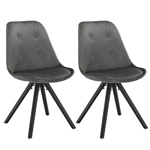 WOLTU® BH196dgr-2 2 x Esszimmerstühle 2er Set Esszimmerstuhl, Sitzfläche aus Samt, Design Stuhl, Küchenstuhl, Holzgestell, Dunkelgrau