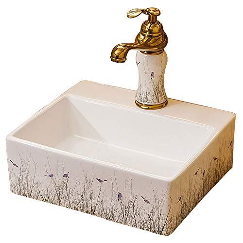"""Recipiente rectangular fregadero - 10"""" Baño lavabo del arte lavabo empotrado con grifo, Rectángulo Sobre contador WC Lavabo Bowl, porcelana blanca de cerámica Lavabo Combo y Pop-Up de drenaje del freg"""