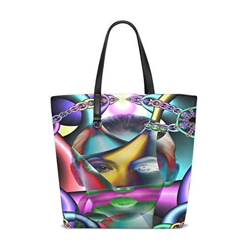 WJJSXKA Women Chains Caught Psyche Woman Patient Cry Suffering Handle Satchel Handbags Shoulder Bag Tote Purse Messenger Bags