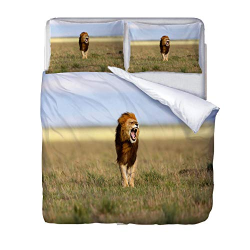 Duvet Cover Set Double-Zipper Closure with 2 Pillow covers Bedding Set Ultra Soft Hypoallergenic Microfiber Quilt Cover SetsRoaring lion