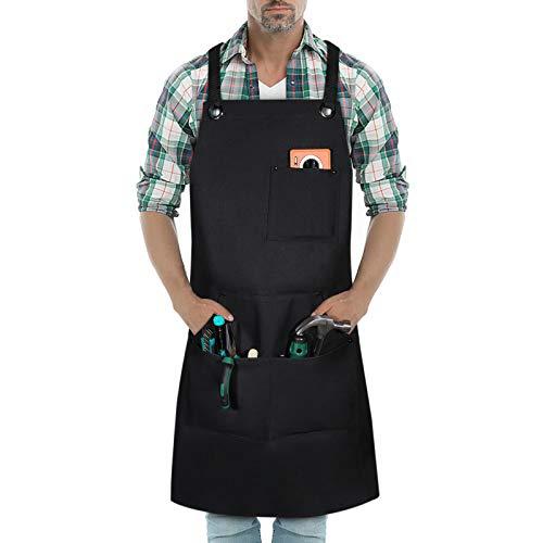 BAIGIO Delantal de Trabajo para Hombre, de Lona, Duradero, con 3 bolsillos, Delantal para Herramientas para Carpintero Jardín, Pintor, Barrista, Apto para Casa, Trabajo, Camping al Aire libre (Negro)