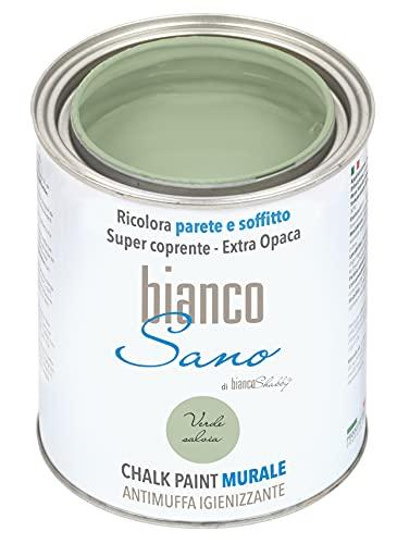 Chalk Paint ANTIMUFFA IGIENIZZANTE specifica per PARETI biancoSano Verde Salvia - Ricolora e sanifica il tuo ambiente (1 Litro)