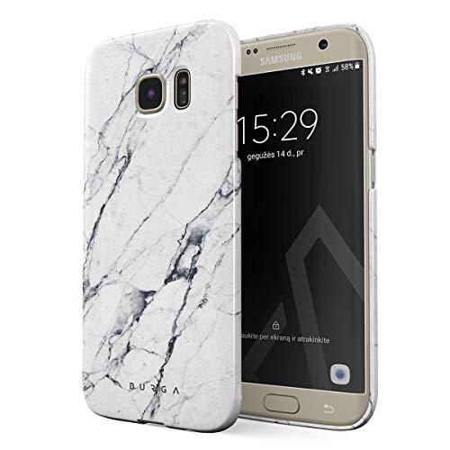BURGA Cover per Samsung Galaxy S7 Edge - Marmo Bianco Marmo Satin White Marble Design Sottile Guscio Resistente in Plastica Dura Custodia Protettiva