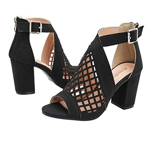 Happyyami Sandalias de Cuña de Mujer Zapatos de Sandalias de Punta Abierta Boca de Pez