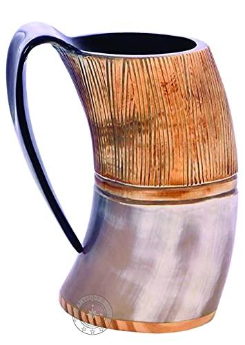 Tazas de cuerno real de 6 pulgadas, taza vikinga, taza de cerveza, copa de vino, copa de mead medieval de arpillera de buey regalo